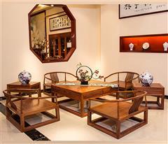 雍博堂红木 缅甸花梨(大果紫檀)瑜伽沙发7件套 古典禅意  休闲系列 客厅系列 新古典红木家具