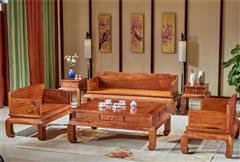 雍博堂紅木 緬甸花梨(大果紫檀)羅漢沙發6件套 客廳系列 新古典紅木家具