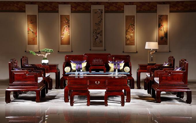 华厦·大不同 大红酸枝 巴里黄檀 中式家具 红木家具 古典家具 新古典家具 中式客厅 红木沙发 客厅系列 幸福绵绵沙发13件套