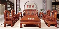 雍博堂红木 缅甸花梨(大果紫檀)聚财金象宝座10件套 客厅系列 新古典红木家具