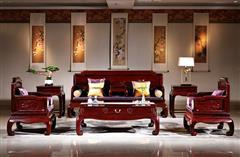 华厦·大不同 大红酸枝 巴里黄檀 中式家具 红木家具 古典家具 新古典家具 中式客厅 红木沙发 客厅系列 珠联璧合7件套