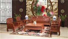 雍博堂红木 缅甸花梨(大果紫檀)国色天香沙发10件套 客厅系列 新古典沙发