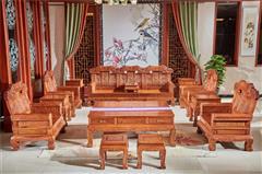 雍博堂红木 缅甸花梨(大果紫檀)大奔沙发13件套 客厅系列 新古典红木家具