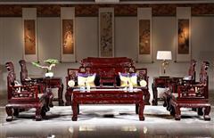 华厦·大不同 红酸枝 中式家具 红木家具 古典家具 新古典家具 中式客厅 红木沙发 客厅系列 六合同春沙发11件套