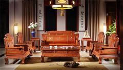 雍博堂红木 缅甸花梨(大果紫檀)财源滚滚沙发10件套 客厅系列 新古典家具