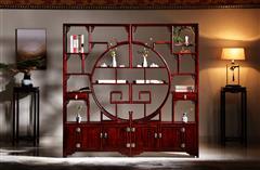 华厦·大不同 大红酸枝 中式家具 红木家具 古典家具 新古典家具 中式书房 书房系列 客厅系列 团圆博古架