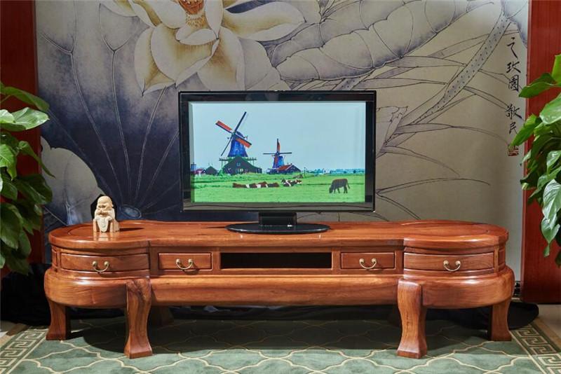雍博堂红木 缅甸花梨(大果紫檀)2.36米圆形电视柜地柜 客厅系列 新古典红木家具