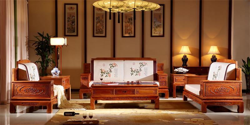 雍博堂紅木 緬甸花梨(大果紫檀) 現代軟體沙發6件套 新古典紅木沙發 客廳系列