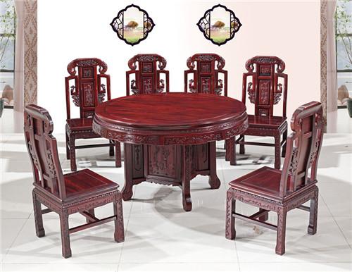 今典居·木雲山 东非酸枝1.26米如意圆餐桌餐台 餐厅系列 新古典家具