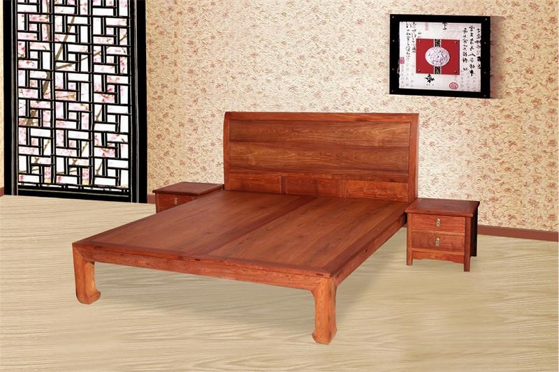 豪盛红木 缅甸花梨(大果紫檀)大床 新古典大床 高端红木大床  卧室卧房系列 1.8米新明式大床