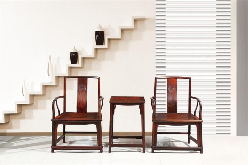 豪盛红木 老挝大红酸枝(学名交趾黄檀)休闲椅扇形椅 明清古典餐休闲椅扇形椅 国标红木休闲椅扇形椅 客厅休闲系列 扇形椅三件套