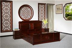 盘谷红木  阔叶黄檀大床 新古典红木家具 卧室套房系列 富贵年年大床