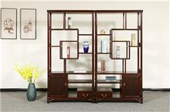 盘谷红木 阔叶黄檀多宝阁 新古典红木家具 客厅系列 事事如意博古架
