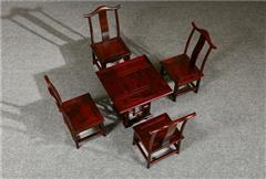 盘谷红木 阔叶黄檀方桌 餐台 新古典红木家具 餐厅系列 小四方桌 5件套