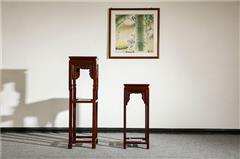 盘谷红木 阔叶黄檀花几 新古典红木家具 客厅系列 几类家具 花架(1.25米,88cm)