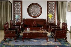 盘谷红木 阔叶黄檀沙发 新古典红木家具 客厅系列 丹凤朝阳沙发11件套