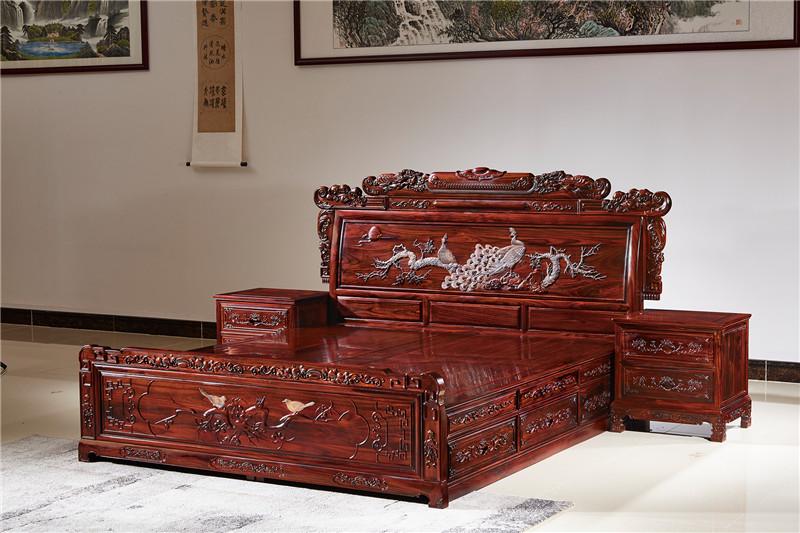 無名紅木 印尼黑酸枝大床(學名闊葉黃檀) 無名紅木1.8米財源大床 紅木大床 新古典紅木大床 中式套房 臥室系列