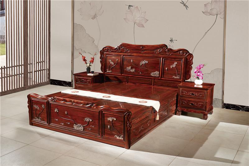 無名紅木 印尼黑酸枝大床(學名闊葉黃檀) 無名紅木1.8米荷韻大床 紅木大床 新古典紅木大床 中式套房 臥室系列