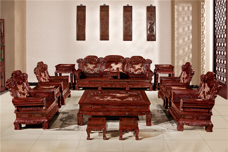 無名紅木 印尼黑酸枝沙發(學名闊葉黃檀) 無名紅木大展宏圖沙發13件套 中式古典沙發 紅木家具沙發 客廳系列
