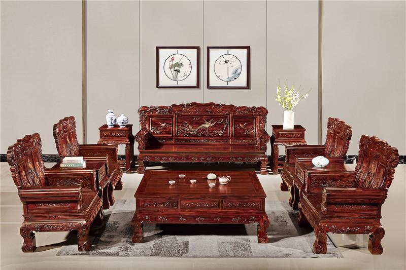 無名红木 印尼黑酸枝沙发(学名阔叶黄檀) 无名红木富贵祥和沙发10件套 中式古典沙发 红木家具沙发 客厅系列