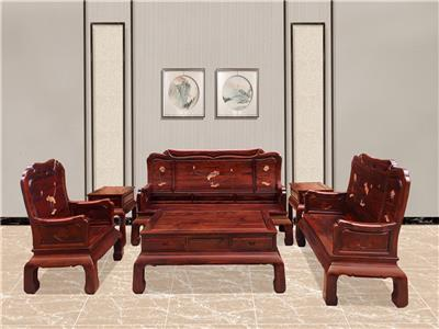 無名红木 印尼黑酸枝沙发(学名阔叶黄檀) 无名红木荷韵沙发6件套(123) 中式古典沙发 新古典红木沙发 红木家具沙发 客厅系列 荷韵系列