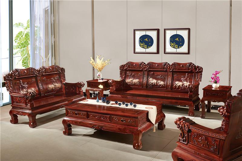 無名紅木 印尼黑酸枝沙發(學名闊葉黃檀) 無名紅木吉象沙發6件套(123) 中式古典沙發 紅木家具沙發 客廳系列