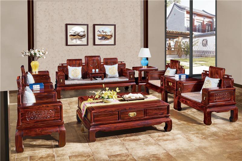 無名紅木 印尼黑酸枝沙發(學名闊葉黃檀) 無名紅木雅韻沙發11件套 中式古典沙發 紅木家具沙發 客廳系列