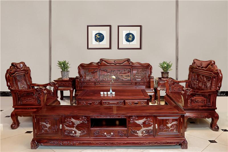 無名红木 印尼黑酸枝沙发(学名阔叶黄檀) 无名红木西湖美景沙发6件套(123) 中式古典沙发 红木家具沙发 客厅系列