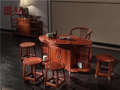 居典红木 刺猬紫檀茶台 新中式红木茶台 带挡板收纳实用型红木茶台 茶台系列 圆融茶台
