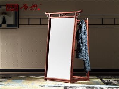 居典紅木 刺猬紫檀穿衣鏡 新中式紅木穿衣鏡 簡約中式紅木穿衣鏡 圓融穿衣鏡