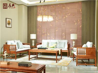 居典红木 刺猬紫檀沙发 新中式红木沙发 现代简约带软装清新红木沙发 客厅系列 圆融清雅沙发