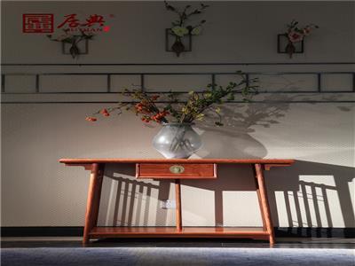 居典红木 刺猬紫檀置物桌 新中式红木置物桌 简约小巧客厅装饰置物桌 客厅系列 圆融玄关