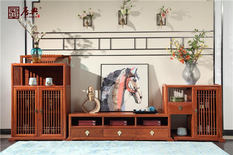 居典紅木 刺猬紫檀電視柜 新中式紅木電視柜 大容量收納紅木電視柜3件套 客廳系列 悅幾電視柜