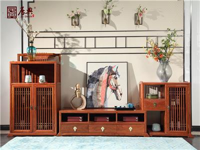 居典红木 刺猬紫檀电视柜 新中式红木电视柜 大容量收纳红木电视柜3件套 客厅系列 悦几电视柜