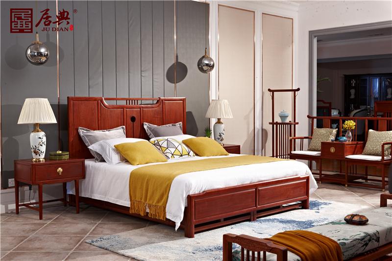 居典紅木 刺猬紫檀大床 新中式紅木大床 簡約獨板大床 臥室臥房系列 悅幾青云床