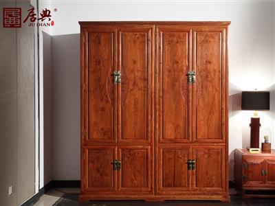 广作红木研究院 刺猬紫檀衣柜衣橱 新古典衣橱衣柜 中式简约红木衣柜衣橱 卧室卧房系列  悦几衣柜衣橱