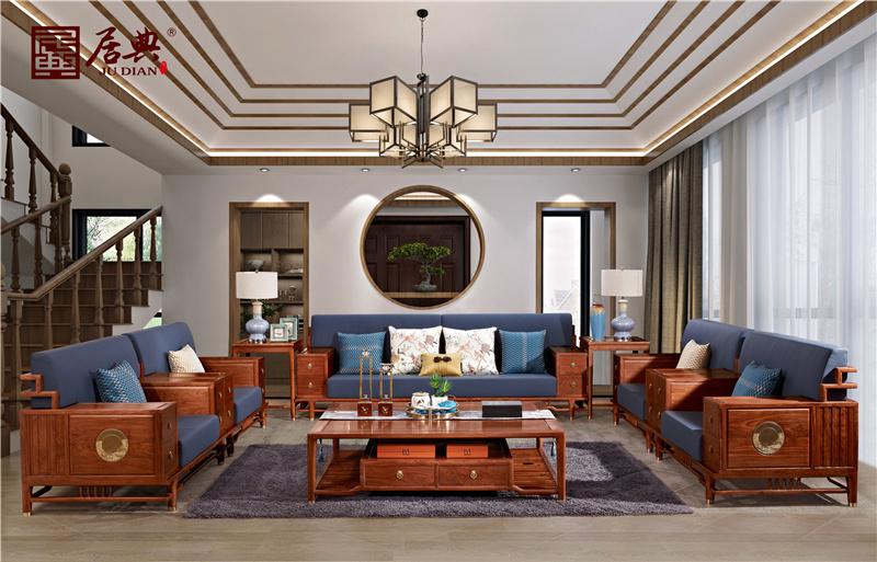 居典紅木 刺猬紫檀沙發 新中式紅木沙發 帶抽屜軟裝銅片鑲簡約嵌紅木沙發 客廳系列 悅幾千禧沙發