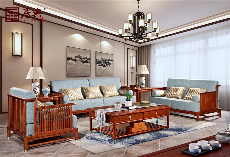 居典红木 刺猬紫檀沙发 新中式红木沙发 线条镂空简约红木沙发 客厅系列 悦几芳华沙发