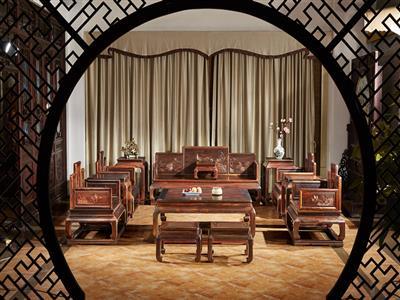 鸿运堂红木 老挝大红酸枝宝座沙发(学名交趾黄檀) 大红酸枝雕荷花五屏宝座沙发 红木家具沙发 明清经典沙发 中式古典沙发 客厅系列