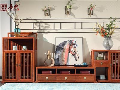 广作红木研究院 刺猬紫檀电视柜 新中式红木电视柜 大容量收纳红木电视柜3件套 客厅系列 悦几电视柜