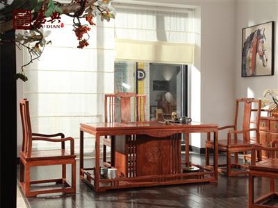 广作红木研究院 刺猬紫檀茶台茶桌 新中式红木茶台茶桌 简约实用可置物红木茶台茶桌 茶台系列  悦几茶室