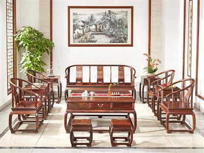 鸿运堂红木 老挝大红酸枝圈椅沙发(学名交趾黄檀) 大红酸枝沙发 圈椅沙发 红木家具沙发 明式沙发 中式古典沙发 客厅系列