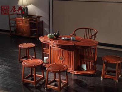 广作红木研究院 刺猬紫檀茶台 新中式红木茶台 带挡板收纳实用型红木茶台 茶台系列 圆融茶台