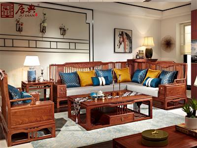 广作红木研究院 刺猬紫檀沙发 国标红木沙发 新中式红木沙发 现代线条镂空红木沙发 客厅系列 尚结转角沙发