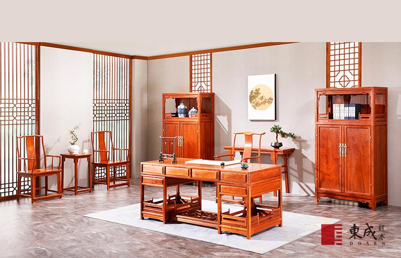 東成紅木 緬甸花梨明式經典書房系列 新古典紅木家具 紅木書桌 大師書房 書房系列