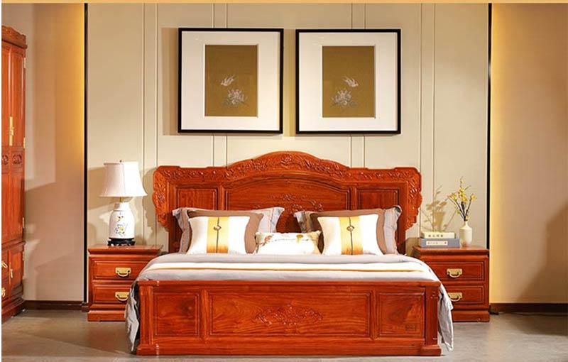 中信紅木 前言和家歡大床三件套 臥室系列 緬甸花梨大床 紅木床