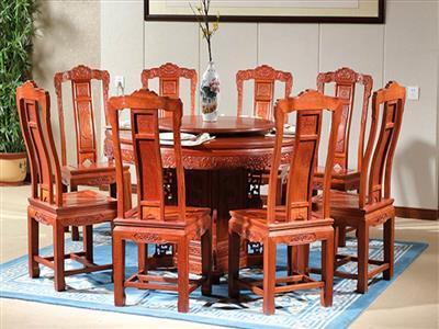 中信红木 大果紫檀路路顺圆台 缅甸花梨餐桌 红木圆台 大果紫檀餐桌