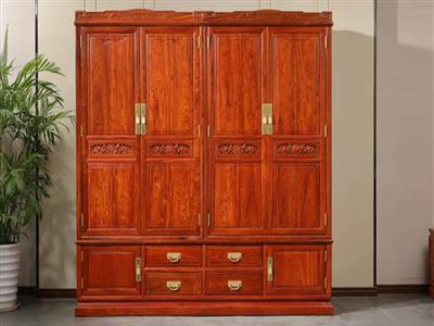 中信红木 前言和家欢大衣柜 缅甸花梨大衣柜 红木衣柜