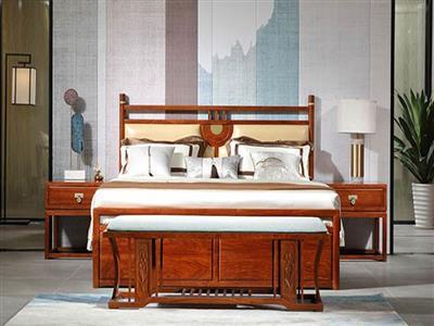 中信紅木 居境掬水留香大床 刺猬紫檀新中式大床 紅木大床