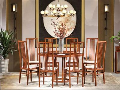 中信红木 居境掬水留香餐台九件套 刺猬紫檀餐台 红木餐台 新中式餐台